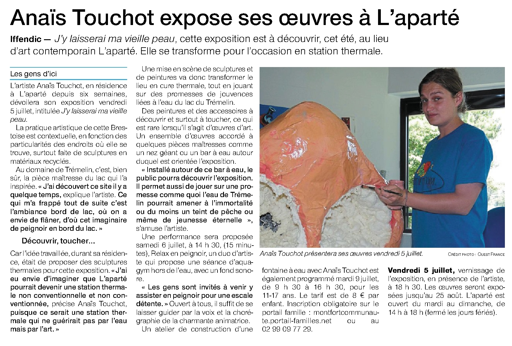Article Ouest-France du 2 juillet 2019