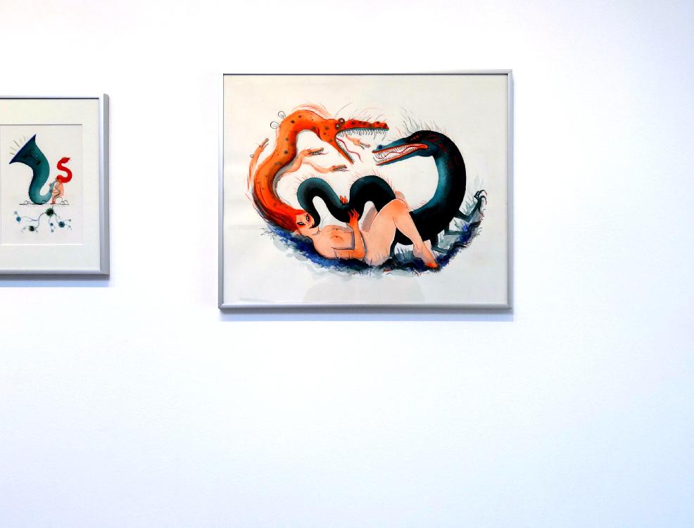Karine Bernadou, La danse des dragons, 2016. Aquarelle sur papier Arches 300 gr., 40 x 50 cm.