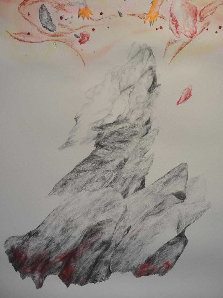Noémie Sauve, Le réveil, La chambre au loup (détail) - Dessin sur papier moulin du gué, 130x80cm, 2015. Mine graphite, sanguine, Bic, crayon de couleur, feutre, aquarelle, paillettes.