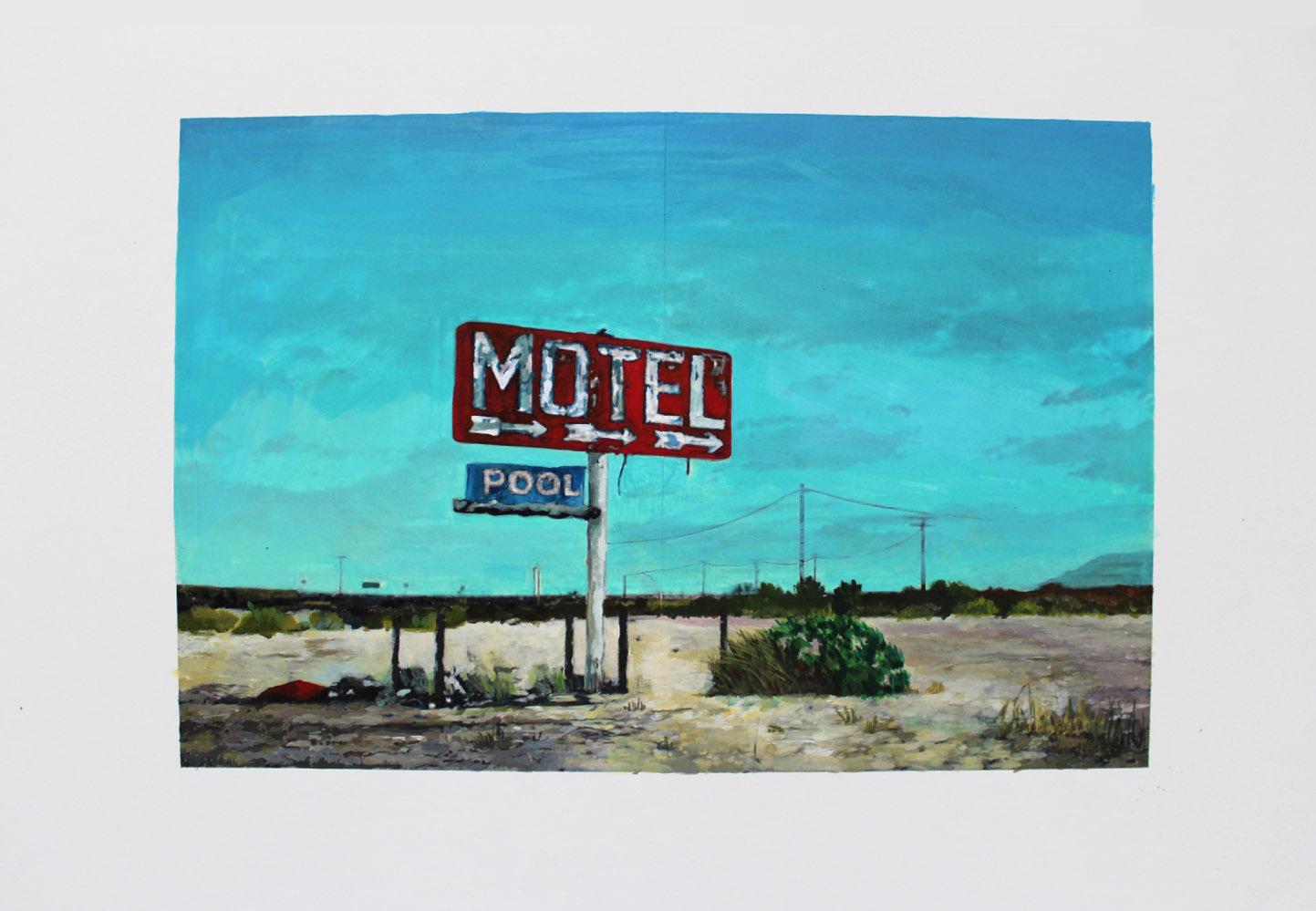 Julie Giraud, Motel, peinture acrylique sur papier Fabriano, 58 x 43 cm
