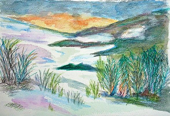 Paysage dessiné au pastel gras aquarellable