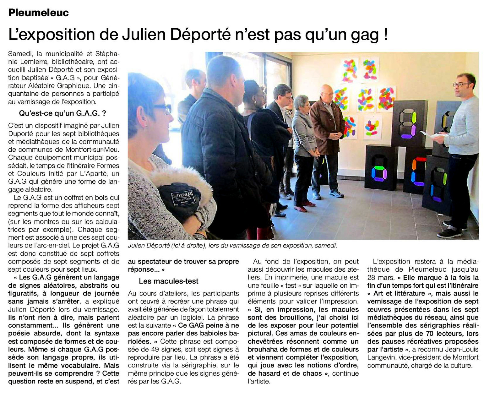 Article Ouest-France du 10 mars 2016