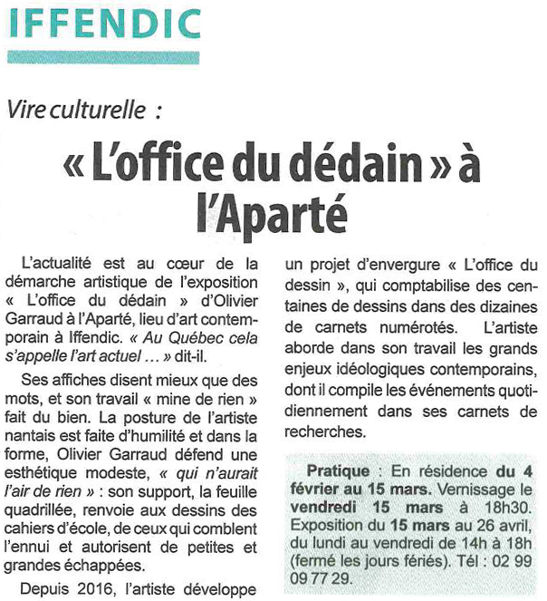 Article Hebdomadaire d'Armor du 15 mars 2019