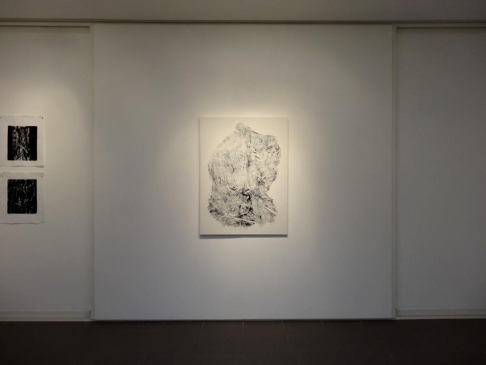 """Vue de l'exposition Cécile White, Empreinte carbone. """"Puzzle"""", monotypes encre et acrylique sur papier de riz assemblés sur toile, 90x120 cm, 2015."""