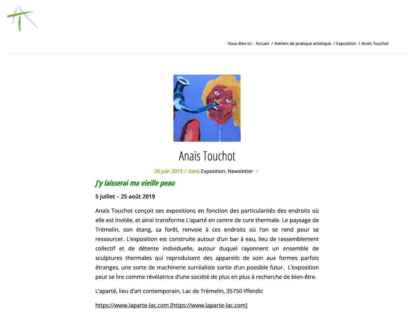 Annonce sur le site Atelier du Thabor