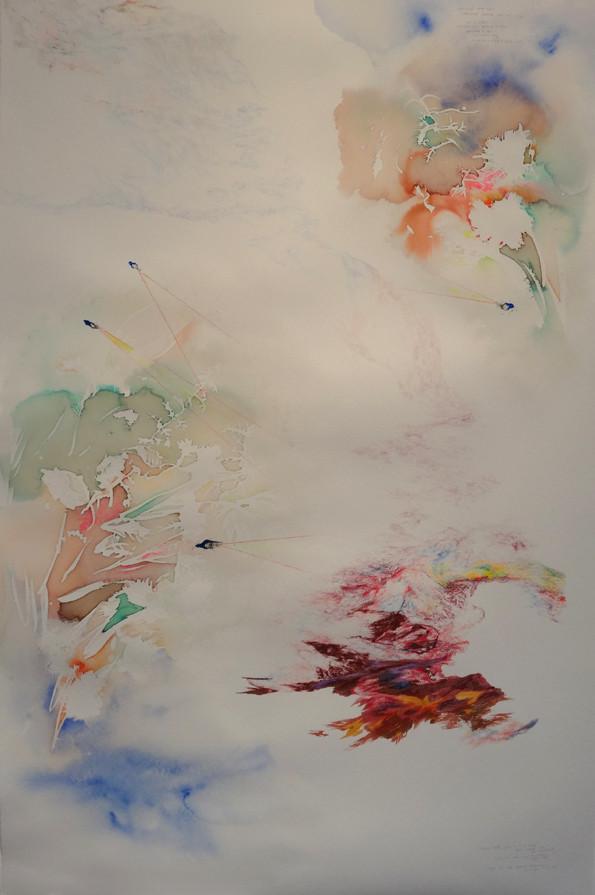 Noémie Sauve, Fuite en pays pourpré réversible - Dessin sur papier moulin du gué, 130x80cm, 2015. Bic, crayon de couleur, feutre, stylos divers, aquarelle, paillettes.