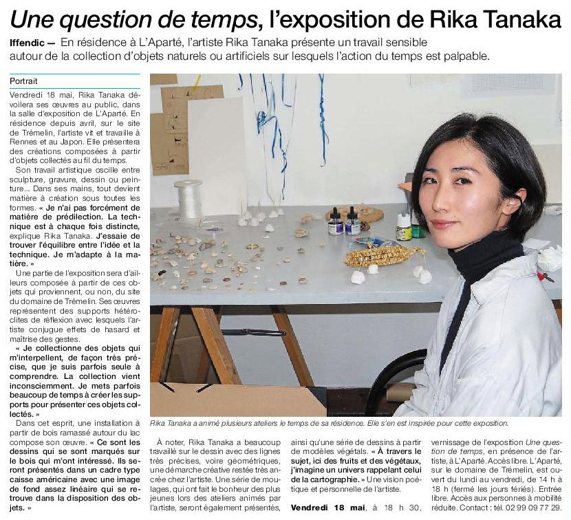 Article Ouest-France du jeudi 10 mai 2018