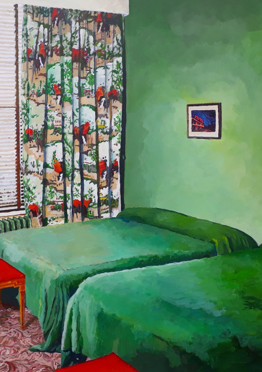 Julie Giraud, La chambre verte, 2018. Peinture acrylique sur papier Fabriano contrecollé sur MDF, 59 x 90 cm