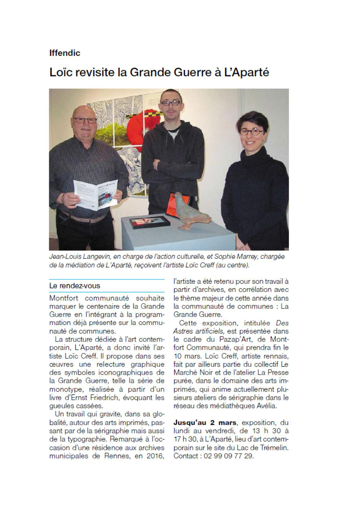 Article Ouest-France du 25.01.18