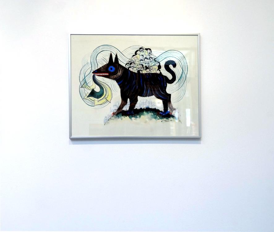 Karine Bernadou, Le chat d'Hamelin, 2016. Aquarelle sur papier Arches 300 gr., 40 x 50 cm.