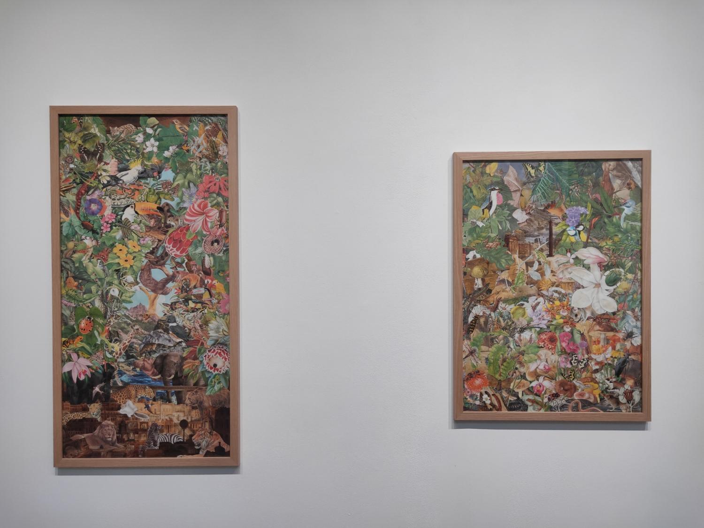 Sir John Soane's Museum, 2020. Illustrations découpées et collées sur papier, 87,1 x 43,1 cm / Le Volcan, 2020. Illustrations découpées et collées sur papier, 63,7 x 45 cm