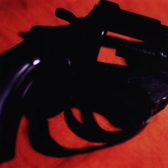 Médiathèque d'Iffendic : la colère. Oeuvre : Yves Trémorin, Guns, 2000, 80 x 80 cm, FRAC Bretagne.