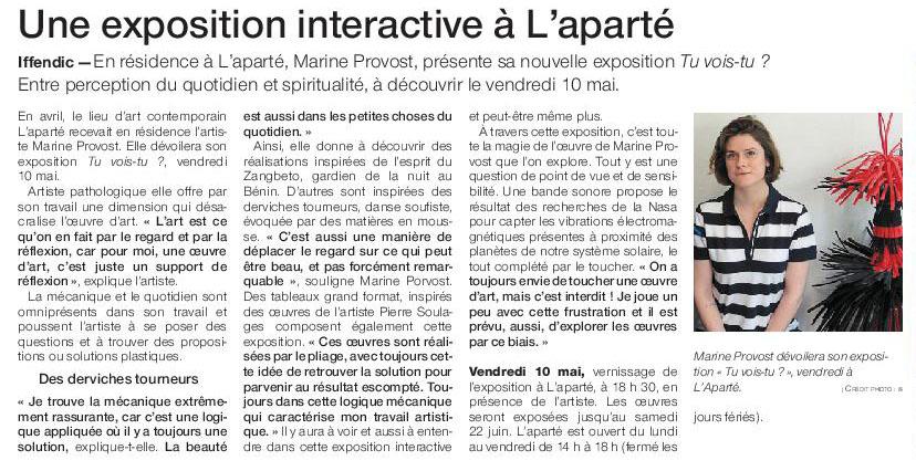 Article Ouest-France du 2 mai 2019