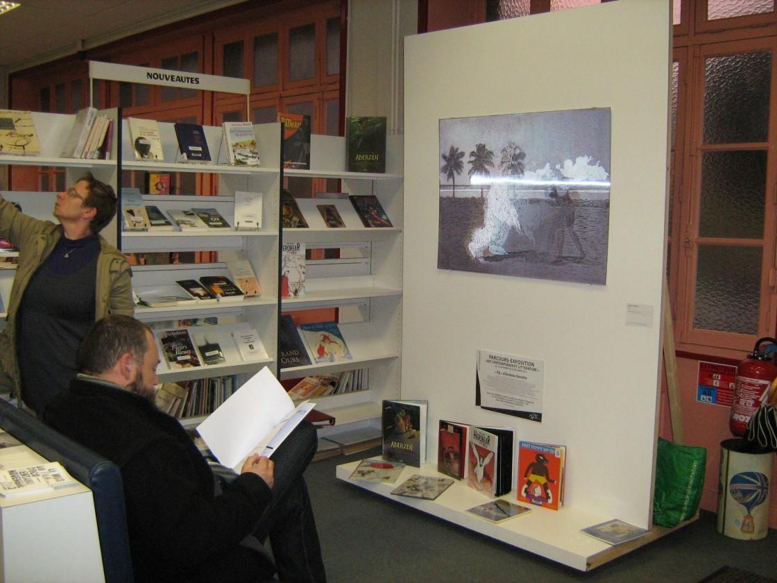 Vue d'exposition médiathèque de Montfort-sur-Meu - Antoine Dorotte, Fiji, 2011. Coll. FDAC 35