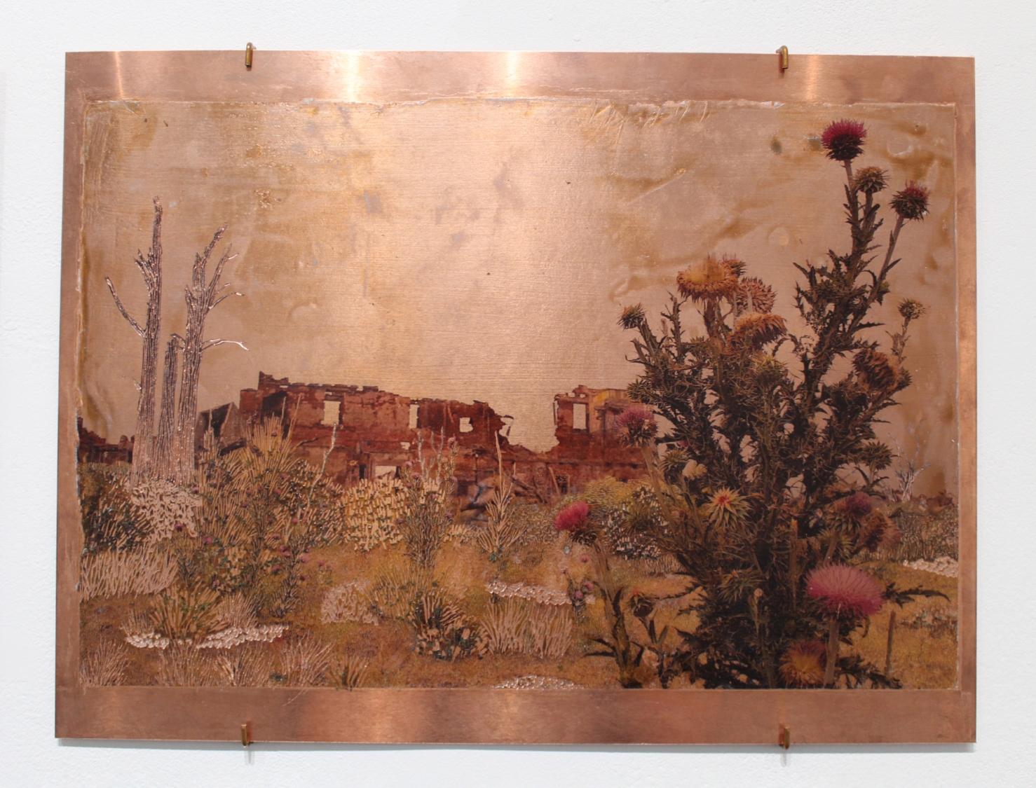 Raphaëlle Peria, Les larmes de Tripantu, transfert photographique sur cuivre gravé, 30 x 40 cm, 2021