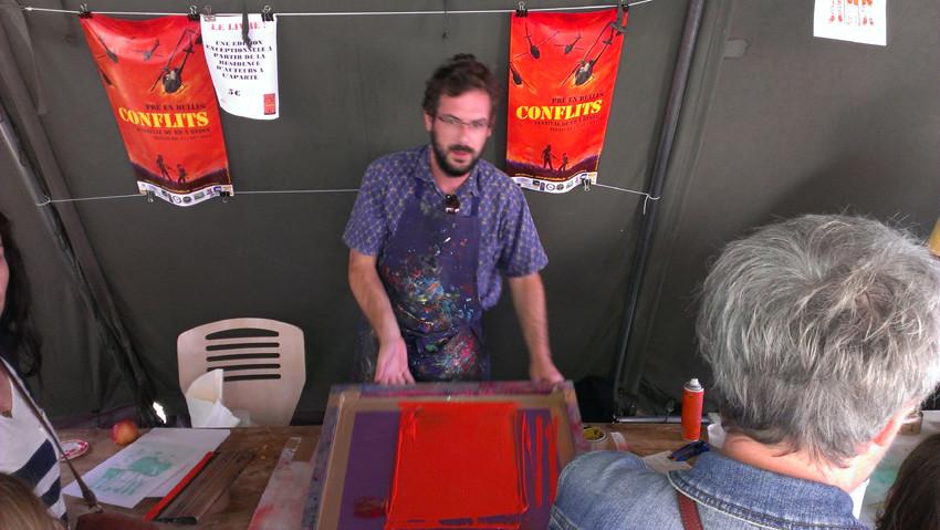 Découverte de la sérigraphie avec La Presse purée (Rennes), animée par Antoine Ronco et Julien Duporté.