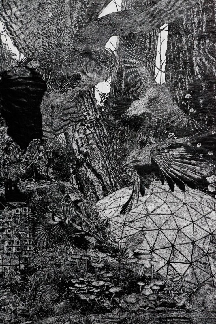 Quentin Montagne, Into the Woods, encre de Chine sur papier, 120 x 80 cm, 2020.