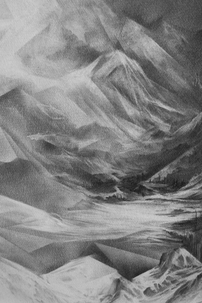 Angélique Lecaille, La chambre au loup (détails), 2014. Dessin à la mine de plomb sur papier montval, 60 cm de diamètre.