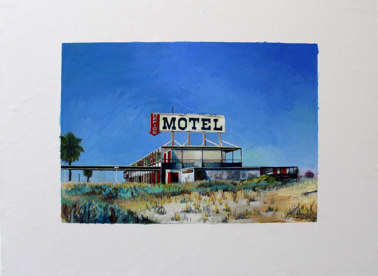 Julie Giraud, La Piscine, peinture acrylique sur papier Fabriano, 59 x 40 cm