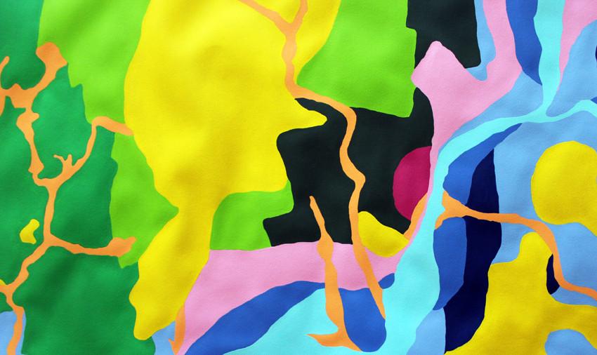 François Feutrie, Fiction souterraine (détail), 2015. Peinture acrylique sur papier Arches 300g, 2 x 1 m