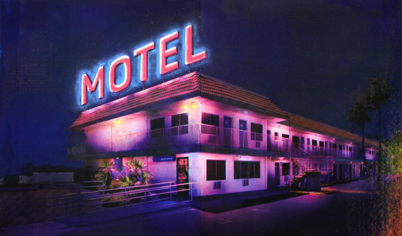Julie Giraud, La Chambre noire, sérigraphie, peinture, encre UV, néon UV, gravillons, 245 x 245 cm