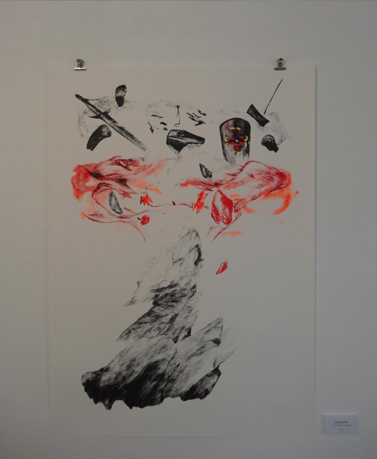 Le réveil, La chambre au loup - Sérigraphie , 70x100cm, 2015. Réalisation La Presse Purée. 3 passages de couleurs, fluo jaune ajouté à la main, 30 exemplaires numérotés et signés.