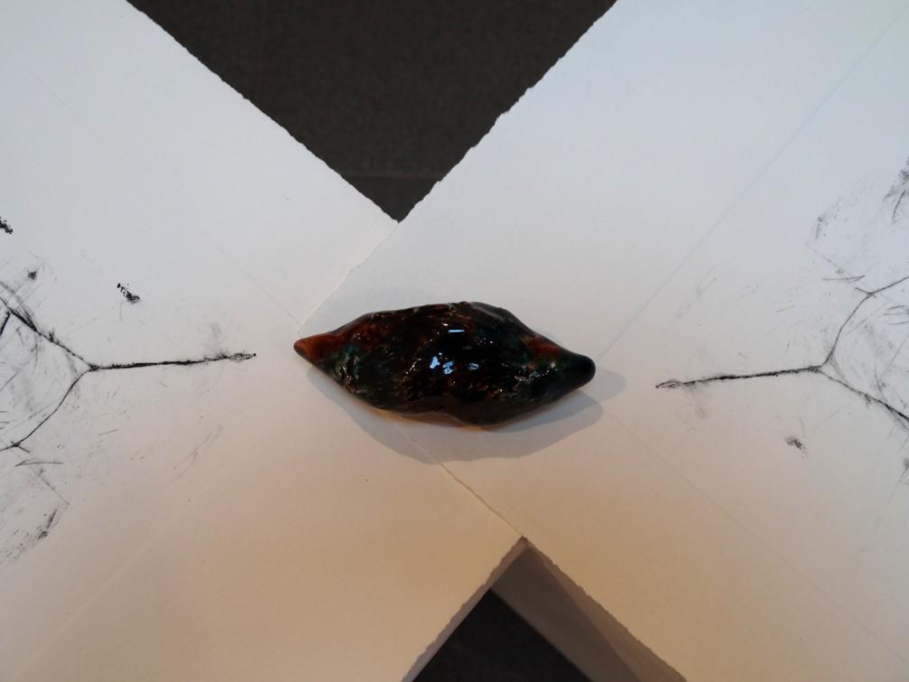 Noémie Sauve, Territoires bicéphales (détail) - Gravure et céramique. Installation. Gravure plexiglas (34x28,5cm) et terre cuite émaillée, 2015.