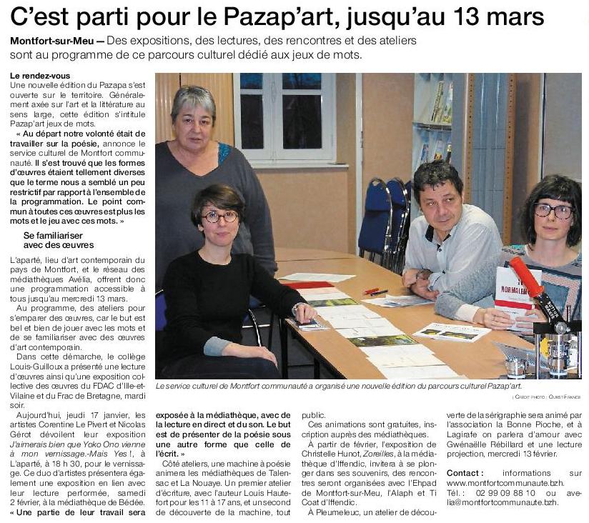 Article Ouest-France du 17 janvier 2019
