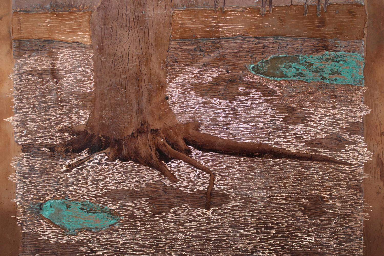 Raphaëlle Peria, Les déracinés #3, transfert sur cuivre gravé et oxydé, 40 x 30 cm, 2020
