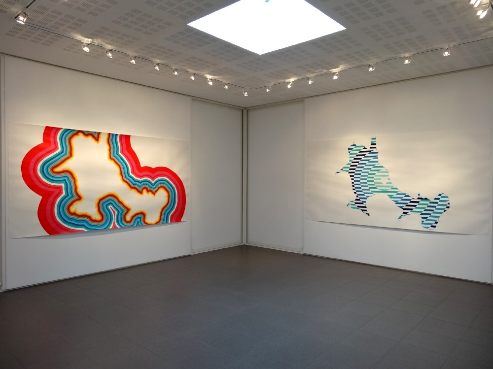 Vue de l'exposition Marine Bouilloud, Fragments d'aura. A gauche : Corps subtil. A droite : Narcose.