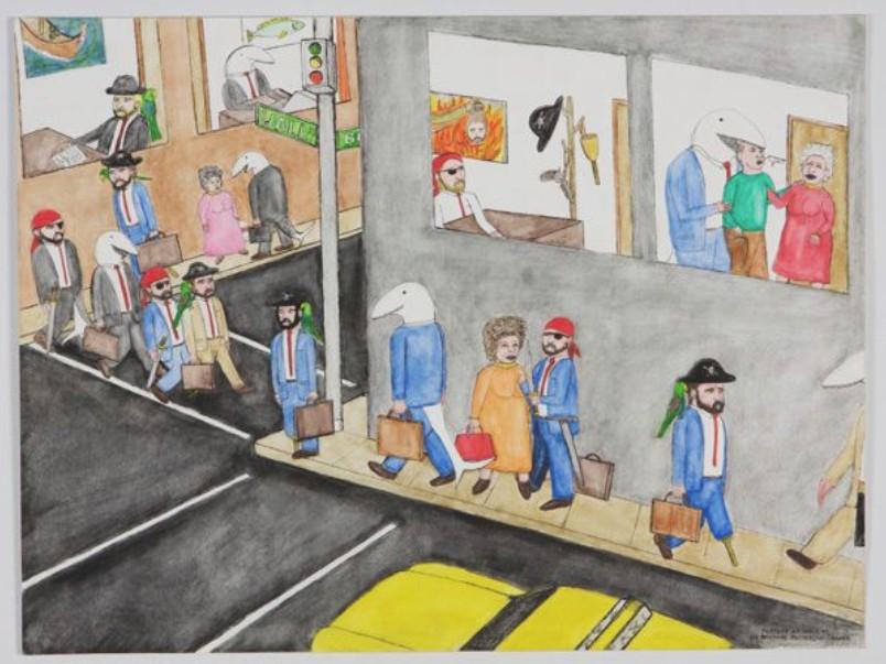 Médiathèque de Bédée : l'avarice. Oeuvre : Michael Patterson-Carver, Portrait of Wall Street, 2009, encre, crayon et quarelle sur papier, FRAC Bretagne.