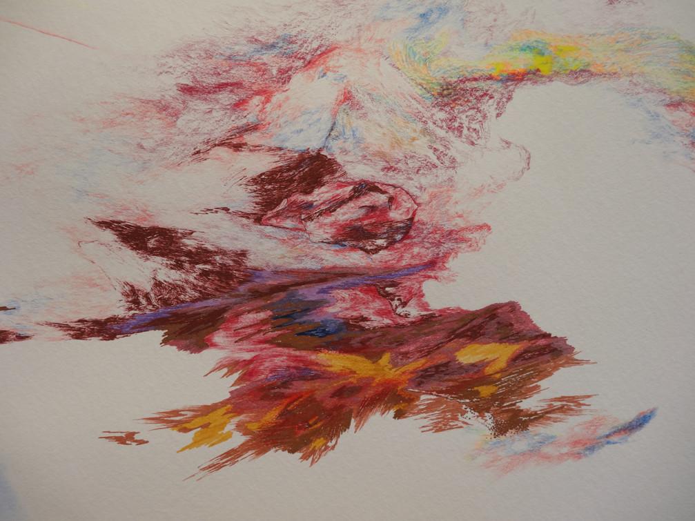 Noémie Sauve, Fuite en pays pourpré réversible (détail) - Dessin sur papier moulin du gué, 130x80cm, 2015. Bic, crayon de couleur, feutre, stylos divers, aquarelle, paillettes.