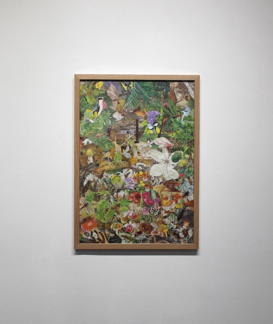 Le Volcan, 2020. Illustrations découpées et collées sur papier, 63,7 x 45 cm