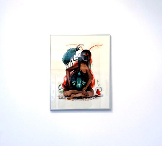 Karine Bernadou, La joueuse de Luth, 2016. Aquarelle sur papier Arches 300 gr., 40 x 50 cm.