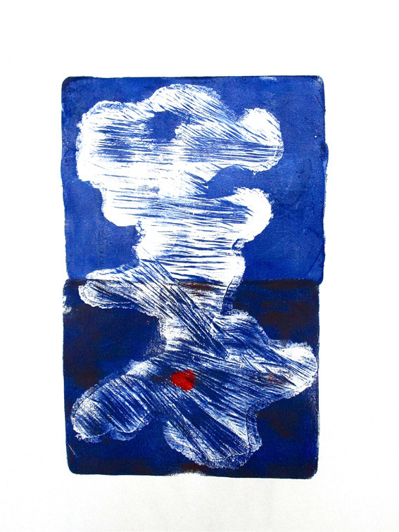 Cécile White, Les marques du temps, panneau 2, monotype acrylique sur papier de lune, 50x75 cm, 2015.