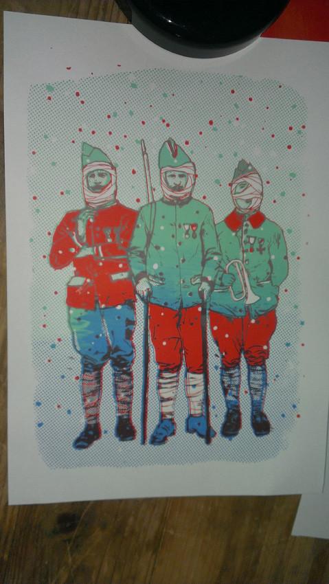 Dessin créé par l'artiste Antoine Ronco. Découverte de la sérigraphie avec La Presse purée (Rennes), animée par Antoine Ronco et Julien Duporté.