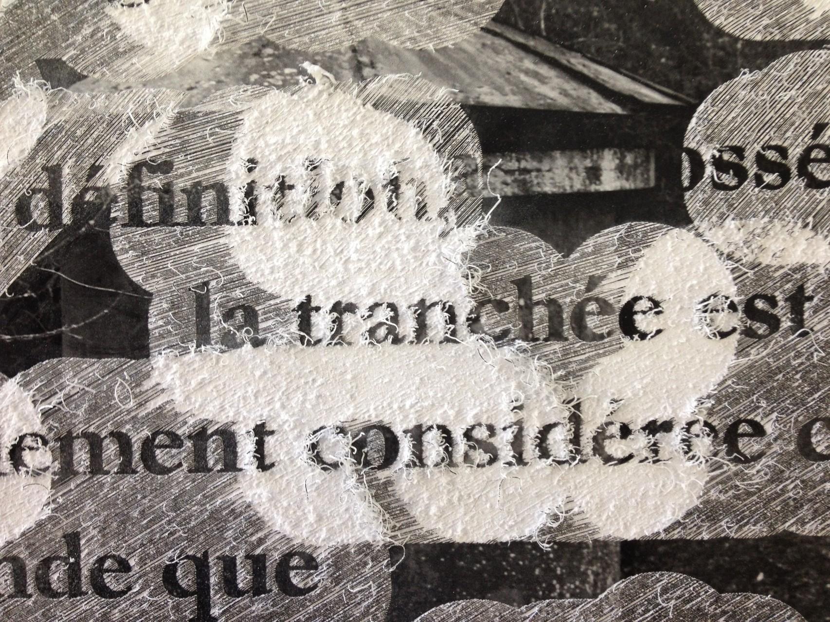 Damien Marchal, Le monologue pragmatique de la conscience : Verdun. Gravure sur impression laser, papier brillant 350g, 2014