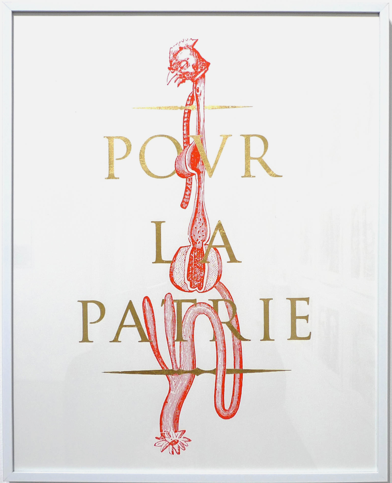 Loïc Creff, Pour la Patrie, 2017. Sérigraphie et dorure, 40 x 50 cm