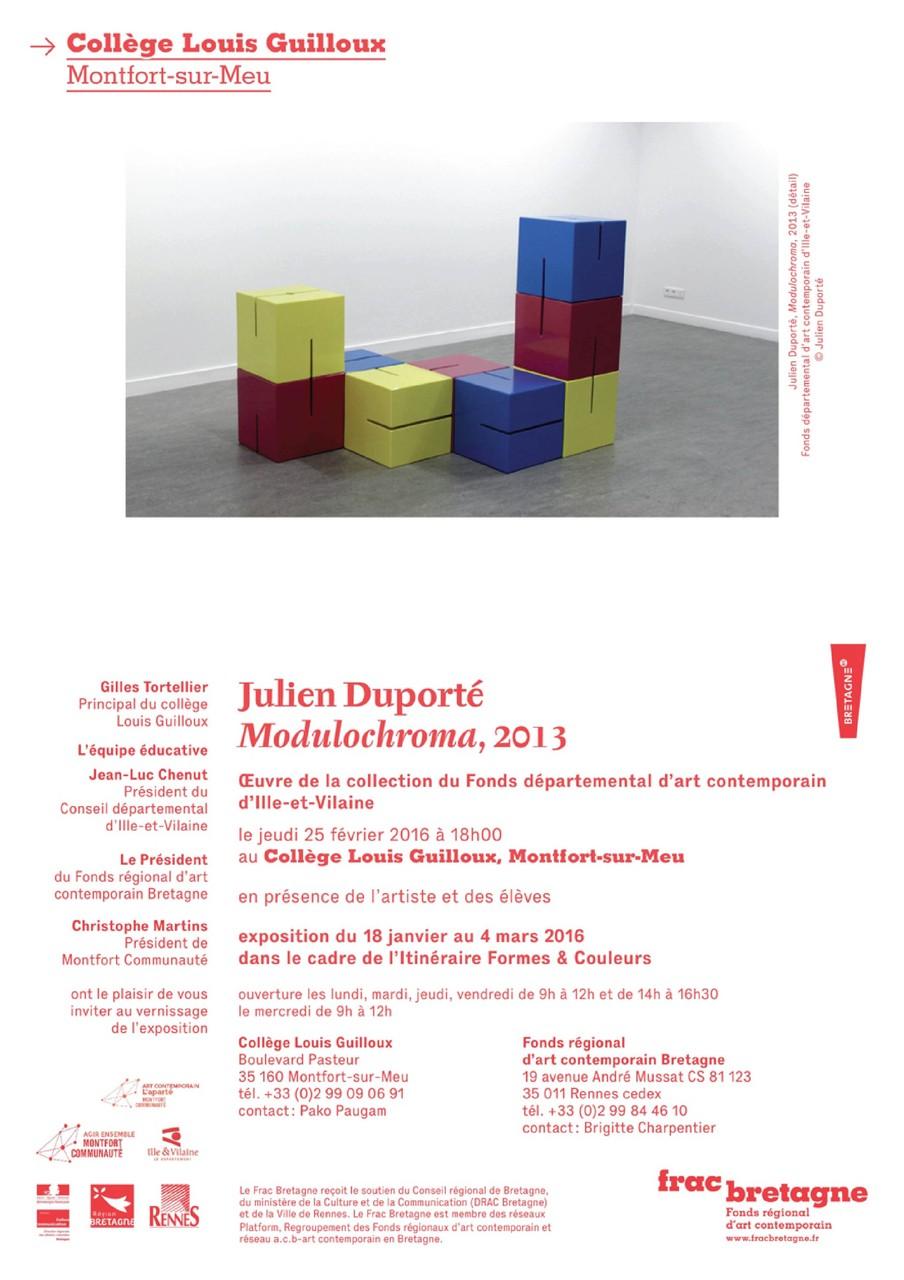 Invitation au vernissage de l'exposition de l'oeuvre collective réalisée avec Julien Duporté au collège Louis Guilloux de Montfort-sur-Meu