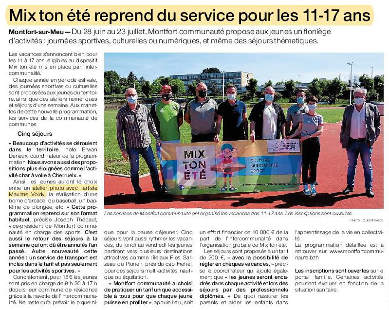 Article Ouest-France du 3 juin 2021