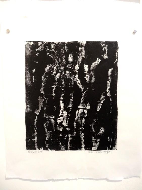 """Vue de l'exposition Cécile White, Empreinte carbone. """"Radiographies de mes voisins"""" détail, 4 monotypes acryliques sur papier de lune, 46x53 cm pièce, 2015."""