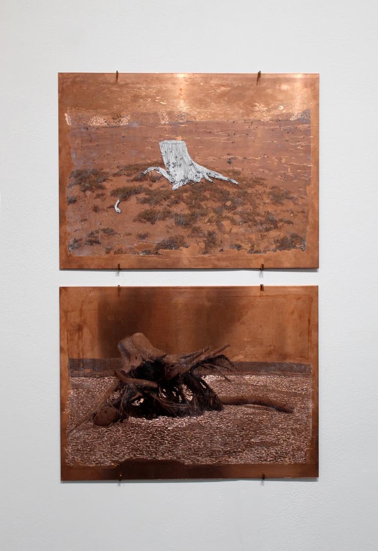 Raphaëlle Peria, Les déracinés #1, grattage sur photographie et transfert sur cuivre gravé, 40 x 30 cm, 2020 /  Raphaëlle Peria, Les déracinés #2, transfert sur cuivre gravé, 40 x 30 cm, 2020