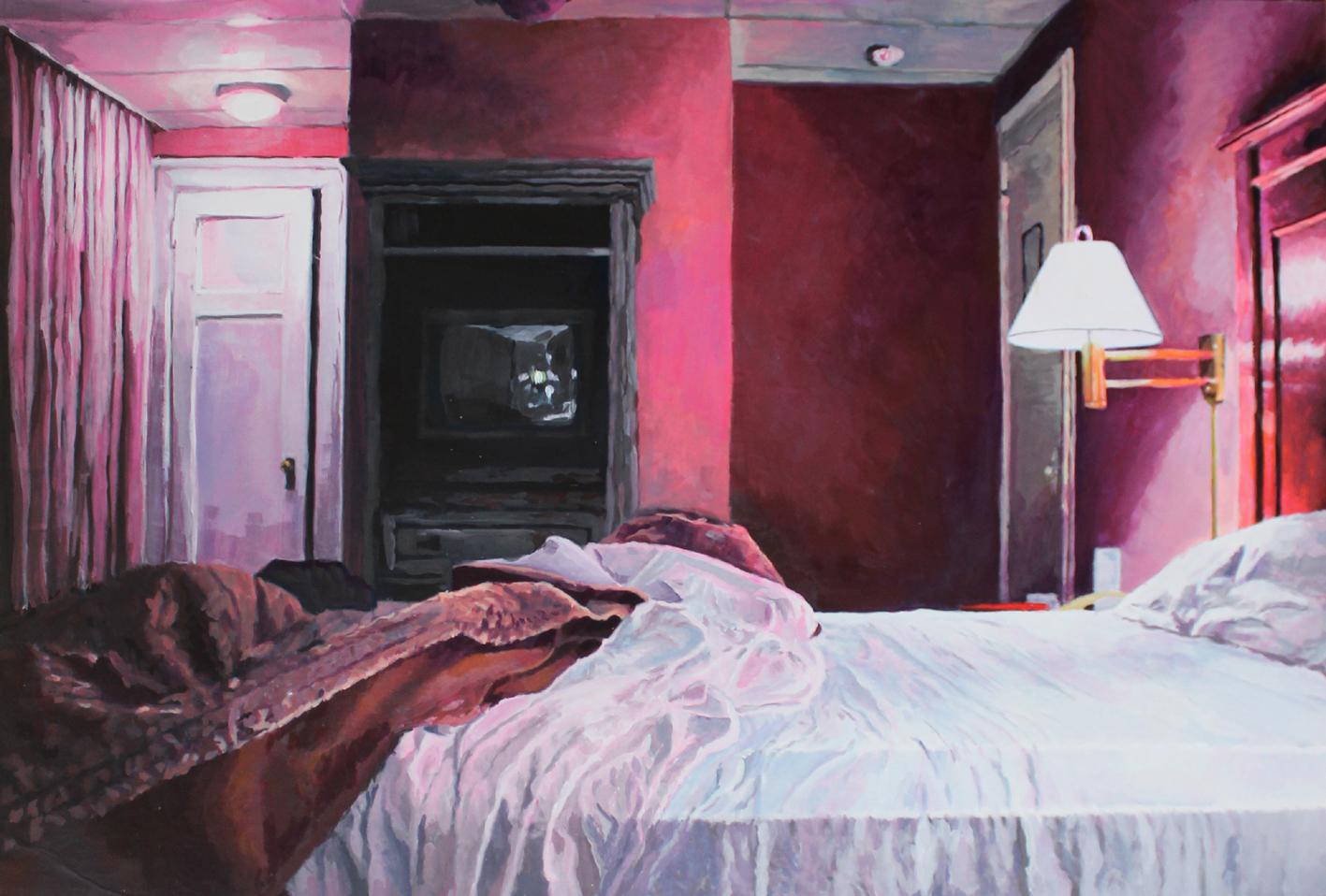 Julie Giraud, Pink room, peinture acrylique sur papier Fabriano, 87 x 59 cm