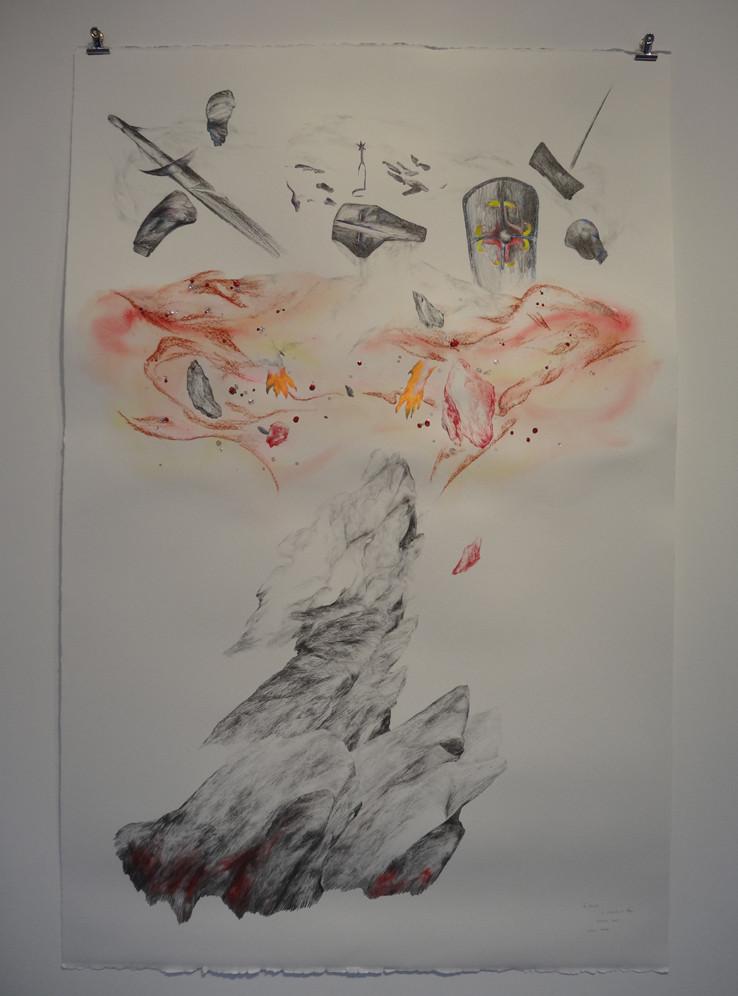 Noémie Sauve, Le réveil, La chambre au loup - Dessin sur papier moulin du gué, 130x80cm, 2015. Mine graphite, sanguine, Bic, crayon de couleur, feutre, aquarelle, paillettes.
