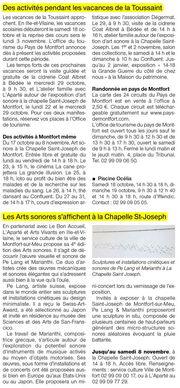 Ouest-France - 18 octobre 2014