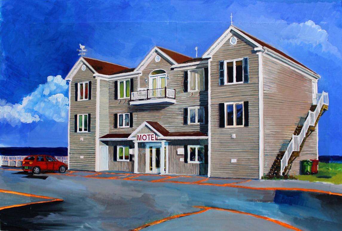 Julie Giraud, Motel 1, peinture acrylique sur papier Fabriano, 45 x 30 cm