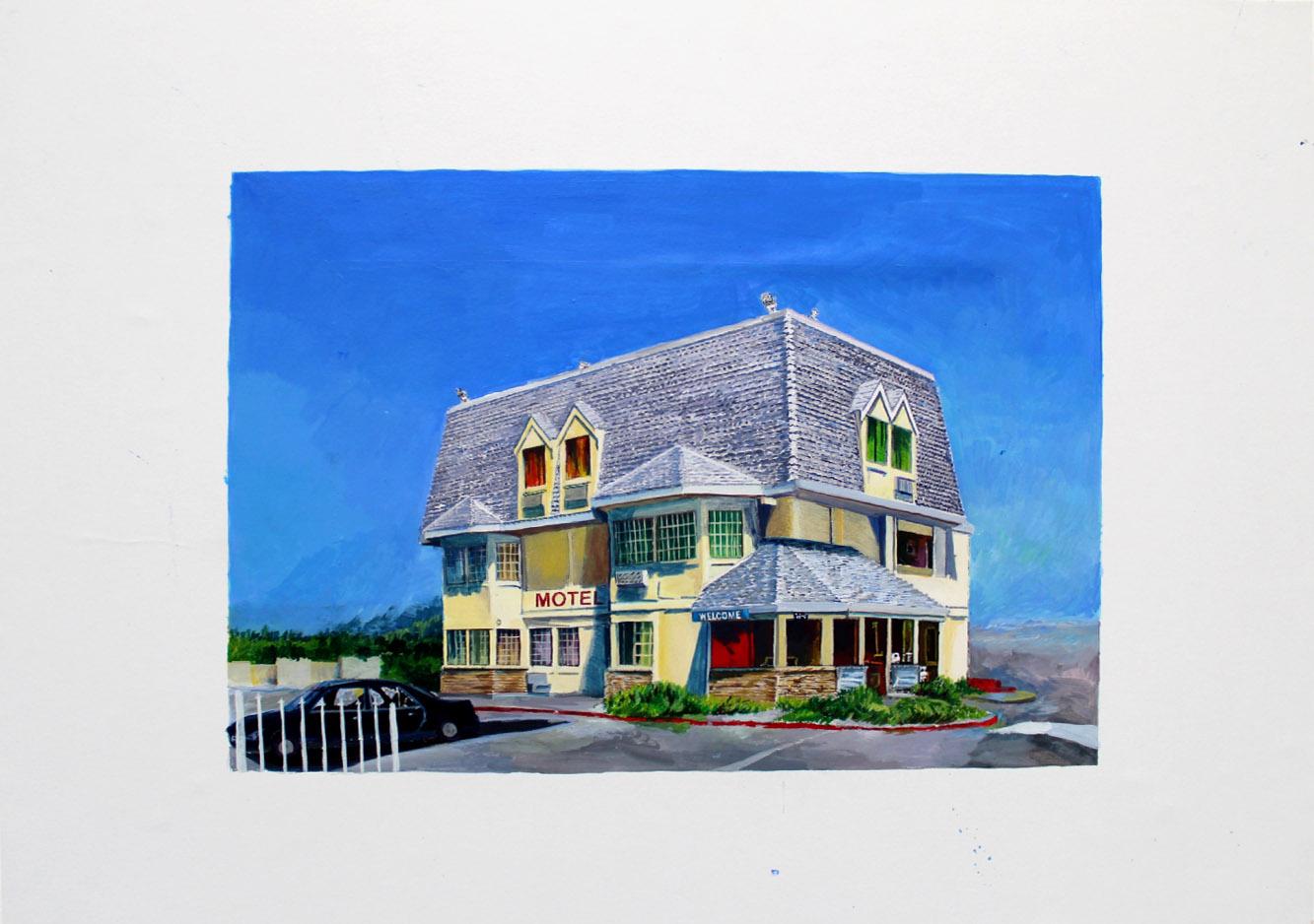 Julie Giraud, Motel 3, peinture acrylique sur papier Fabriano, 58 x 42 cm
