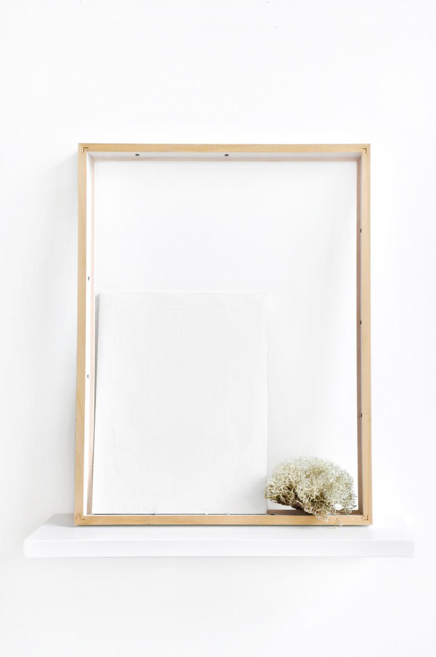 Estèla Alliaud, Sans titre. Etagère, cadre, contreplaqué recouvert de porcelaine crue, lichen, 44 x 40 x 14,5 cm, 2015.