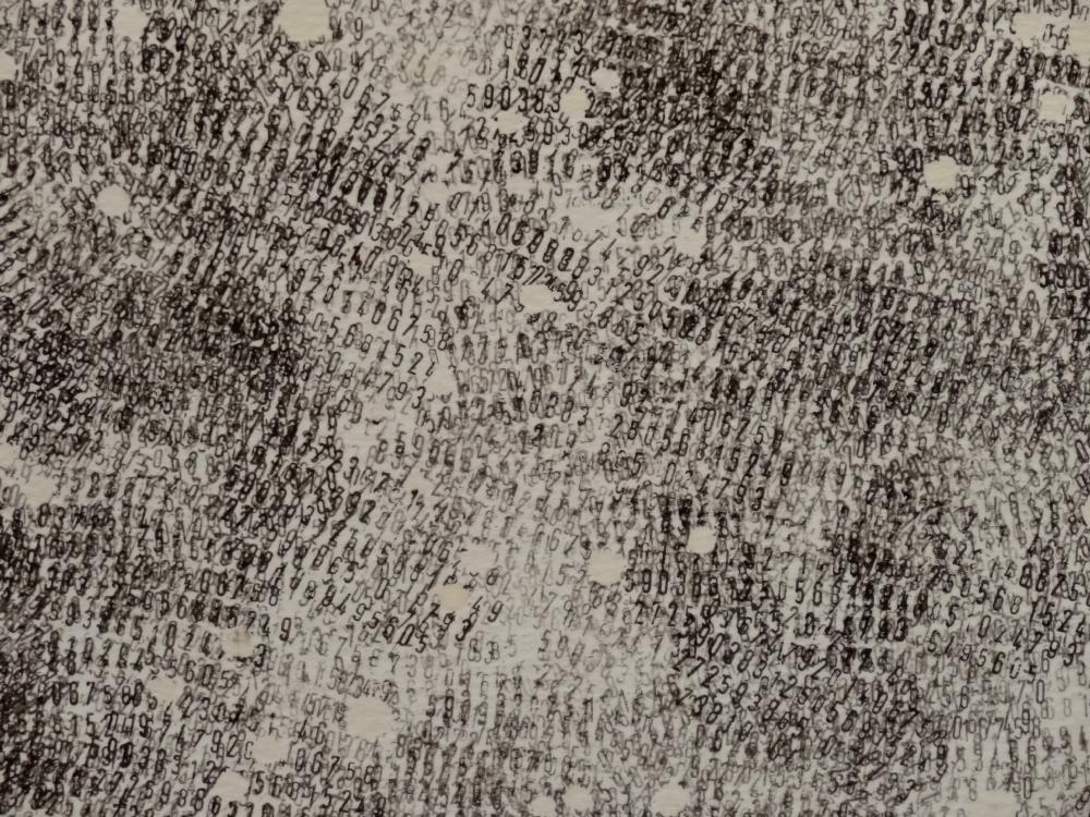 Nikolas Fouré, Mesures (détail), 2015. Tampon encreur sur papier Montval 300g. 25 parties de 41 x 51 cm. Le tout : 205 x 255 cm. Photo : L'aparté.