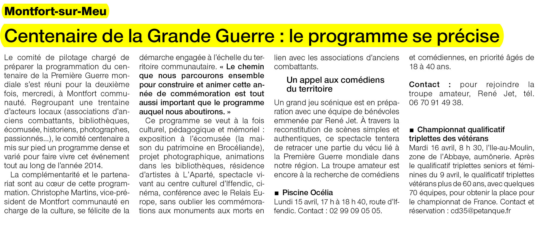Ouest-France - 15 avril 2013